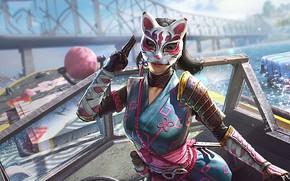 Picture girl, bridge, mask, Playerunknown's Battlegrounds