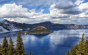 Picture the sky, clouds, trees, lake, island, the volcano, crater, Crater Lake National Park