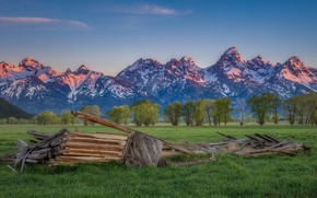 Picture field, forest, summer, the sky, grass, snow, trees, mountains, house, blue, blue, the slopes, tops, …