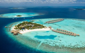 Picture Islands, palm trees, the ocean, The Maldives, resort, Laguna, beaches, Bungalow