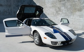 Picture White, The hood, Door, Sports car, 2005 Ford GT