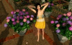 Picture girl, flowers, hydrangea