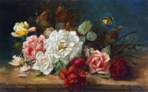Picture flowers, oil, roses, Hans Zatzka, «Still life with roses»