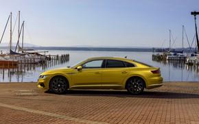 Picture yellow, pier, Volkswagen, profile, 2018, R-Line, liftback, 2017, Arteon