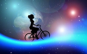 Picture girl, bike, dreams