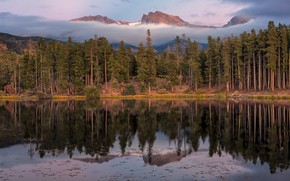 Picture forest, the sky, clouds, trees, mountains, fog, lake, reflection, rocks, shore, the slopes, tops, view, …