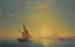 Picture boat, picture, sail, seascape, 1857, Ivan Aivazovsky, Sunset over the Island of Ischia