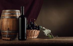 Picture wine, bottle, grapes, corkscrew, barrel