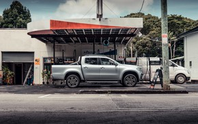 Picture Mercedes-Benz, side view, pickup, 2018, Gas stations, X-Class, gray-silver