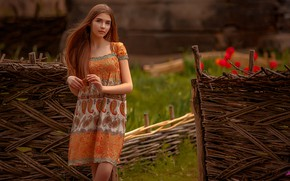 Picture grass, look, flowers, model, the fence, portrait, makeup, dress, hairstyle, brown hair, beauty, is, posing, …