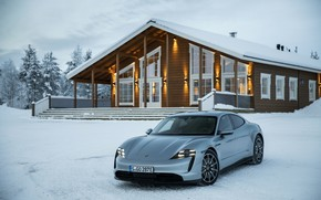 Picture snow, grey, Porsche, 2020, the house, Taycan, Taycan 4S