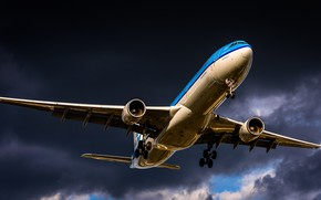 Picture Liner, Landing, Airbus, A330, WFP, Airliner, Chassis, KLM, Airbus A330-300, A330-300, Royal Dutch Airlines, Airbus …