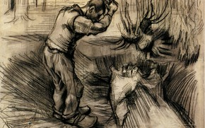 Picture hard worker, Vincent van Gogh, a man with taproom, Woodcutter