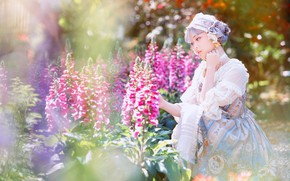 Picture summer, girl, light, flowers, nature, garden, dress, outfit, Asian, photoshoot