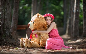 Picture girl, mood, bear