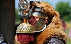 Picture armor, warrior, Rome, helmet, fur, male