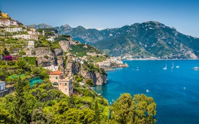 Picture sea, mountains, home, yachts, Italy, Amalfi