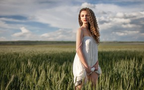Picture field, the sky, the sun, clouds, nature, pose, model, portrait, makeup, dress, horizon, hairstyle, ears, …