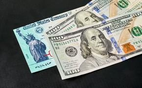 Picture USA, Bills, Money, Benjamin Franklin, Benjamin Franklin, Dollars, The dark background, Dollars, 100, 2021, Сто, …