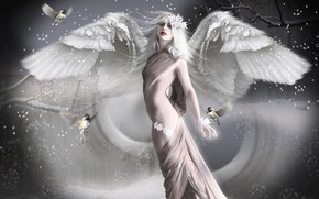 Picture girl, birds, wings, angel, photoart, toga