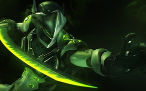 Picture rendering, sword, mask, ninja, Overwatch, Genji, genji shimada