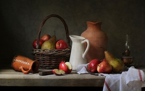Picture apples, pitcher, pear