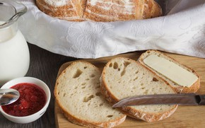 Picture oil, bread, jam