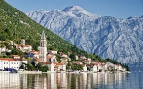 Picture sea, mountains, home, Montenegro, Perast