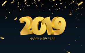 Wallpaper gold, New Year, figures, golden, black background, black, background, New Year, Happy, sparkle, 2019
