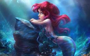 Picture sadness, mood, the ocean, fantasy, art, tear, the little mermaid, children's, Little mermaid, Anna Anikeyka