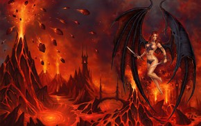 Picture girl, background, fire, the demon, art