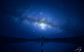 Picture night, lake, boy, the milky way, shooting star