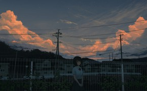 Picture girl, clouds, posts, wire, the fence, the evening