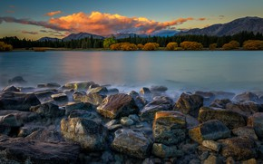 Picture trees, landscape, mountains, nature, lake, stones, New Zealand, forest, reservoir, Lake Ruataniwha