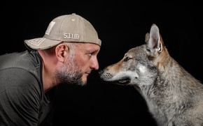 Picture face, face, dog, profile, male, cap, beard, baseball cap, black background, peepers