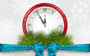 Picture snowflakes, arrows, graphics, watch, Christmas, New year, bow