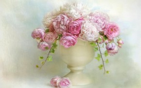 Picture leaves, flowers, background, bouquet, art, white, vase, pink, white, painting, peonies, ivy