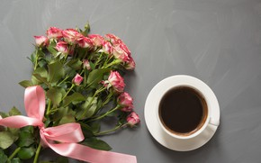 Picture coffee, roses, bouquet, tape, Cup