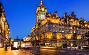 Picture road, light, night, night lights, Scotland, architecture, night city, Scotland, Edinburgh, Edinburgh, Princes Street