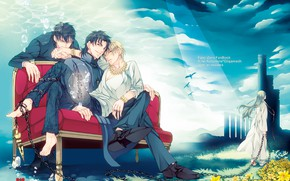 Picture bubbles, sofa, barefoot, necklace, chain, tower, guys, Fate/Stay Night, green hair, the priest, blue sky, …