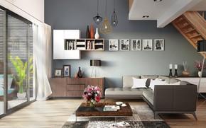 Picture design, style, interior, ladder, living room