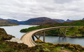 Picture road, the sky, clouds, mountains, bridge, nature, river, hills, Scotland, Kylesku Bridge