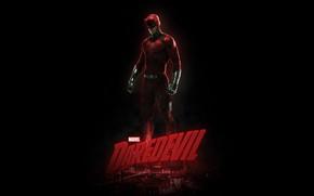 Picture fiction, the inscription, costume, the series, black background, poster, Marvel, comic, Daredevil, Daredevil, TV Series