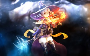 Picture girl, background, fire, flame, Game, dress