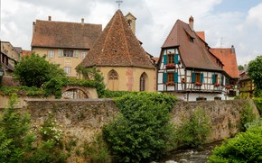 Picture the city, home, roof, France, Alsace, Kayserberg, architecture
