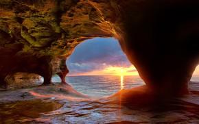 Picture USA, landscape, nature, sunset, lake, sun, horizon, cave, Michigan, Lake Superior