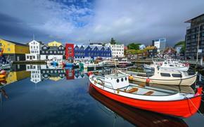 Picture boats, pier, Faroe Islands, Tórshavn