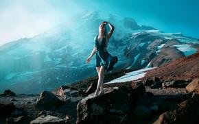 Picture girl, light, mountains, style, stones, dress, fantasy, image, photoart, Kindra Nikole