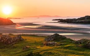 Picture sea, the sun, hills, shore, slope, Scotland