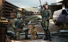 Picture Girl, Dog, Soldiers, Guy